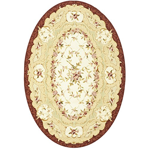 Safavieh Chelsea Collection HK73A Hand-Hooked Ivory and Burgundy Premium Wool Oval Area Rug (4'6