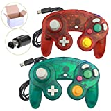 Cheap Koalud 2 Packs Classic Wired Gamepad Controllers for Wii Game Cube Gamecube console(Deep green and Clear red)