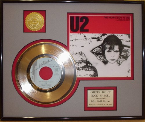 """U2""""Two Hearts Beat As One"""" Framed 24Kt Gold Record - Rare Music Memorabilia from Gold Record Outlet"""