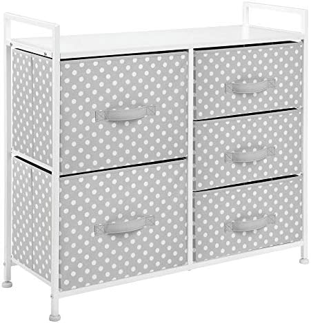 "mDesign Wide Dresser 5 Drawers Storage Furniture - Wood Top, Easy Pull Fabric Bins - Organizer for Child/Kids Room or Nursery - Polka Dot Pattern, 32.6"" W - Gray with White Dots"