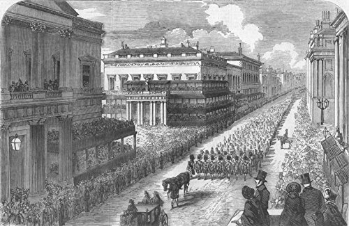 LONDON. Funeral of Duke of Wellington, Pall Mall - 1852 - old antique vintage print - engraving art picture prints of London Society - Illustrated London - Wellington Mall