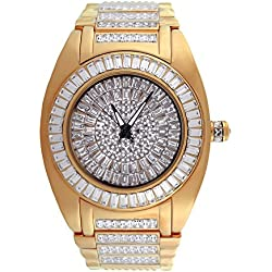 Mens Iced out Bling Lab Diamond Baguette Rose Gold Tone Techno Bling Master Designer Metal Band Watch
