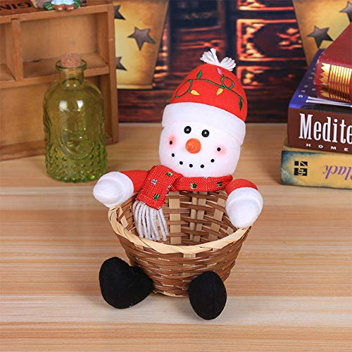 Ocamo Small Merry Christmas Candy Storage Basket for Xmas Table Decoration Children Toy Scene Layout Gift Small Snowman Christmas Halloween]()