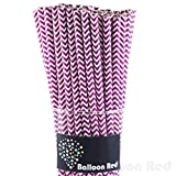 Biodegradable Paper Drinking Straws (Premium Quality), Pack of 50, Chervon - Purple