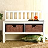 Hampton Wooden Seat Storage Bench with Rattan Baskets and Back – Great Entryway Hallway Furniture – This Basket Organizer Foyer Chest Is White and Has 2 Storage Compartments and 2 Cubby Storage Baskets Included – This Small Entry Storage Bench Can Be Used Both Indoor or Outdoor – Very Beautiful Coastal/Contemporary Style