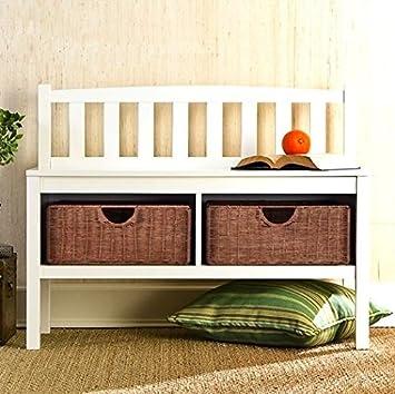 Amazon  Hampton Wooden Seat Storage Bench with Rattan Baskets