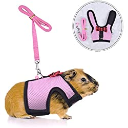 PERSUPER Small Animals Harness and Leash Adjustable - Soft Mesh Small Pet Harness with Safe Bell, No Pull Comfort Padded Vest Durable Nylon Harness All Season for Rats,Guinea Pig and Hamster