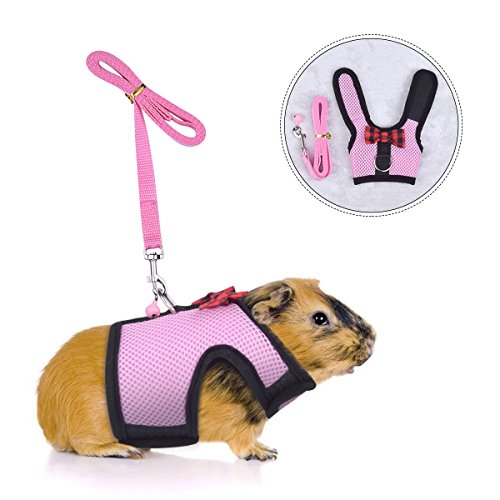 Guinea Pig Harness and Leash Adjustable – Soft Mesh Small Pet Harness with Safe Bell, No Pull Comfort Padded Vest Durable Nylon Harness All Season for Rats,Hamster and Small Animals- PerSuper
