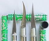Set 3 Green Color Fruit Carving Knife Handle