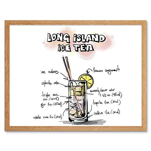 Wee Blue Coo Painting Alcohol Cocktail Recipe Long Island Ice Tea Art Print Framed Poster Wall Decor 12x16 inch]()