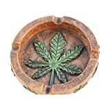 Poly Plus Marijuana Pot Leaf Weed Cigarette Ashtray for Outdoors and Indoors Use - Modern Christmas Holiday Home Decor Tabletop Ash tray for Smokers - Nice Gift for Men and Women