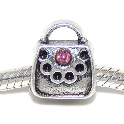 "Pro Jewelry "" Purse Handbag "" w/ Pink Crystals Charm Bead for Snake Chain Charm Bracelets"