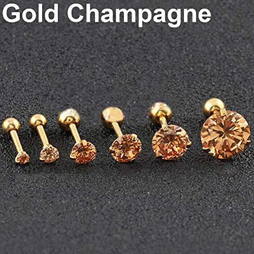 soAR9opeoF Opeof Earrings 2 Pcs CZ 3 Prong Tragus Cartilage Stainless Steel Stud Earrings Piercing Jewelry Gold Champagne Cz 8mm