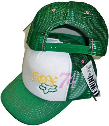 Fox Womens Hat - Fox Racing Squared White/Green Womens Trucker Mesh Back Snapback Hat Cap Osfa