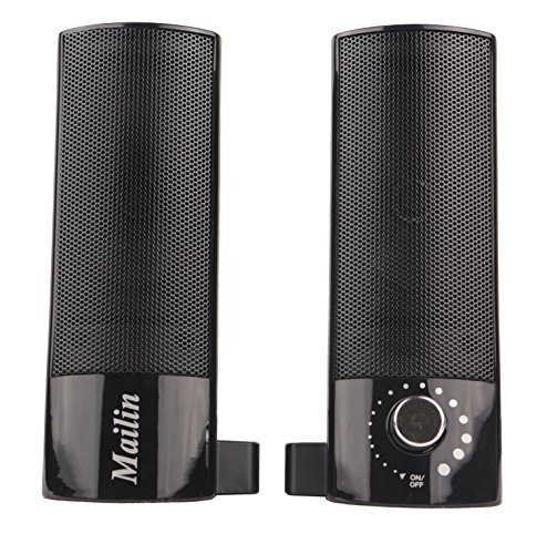 Mailin Detachable Computer Speaker, PC Speaker, Soundbar, Laptop Speaker, USB Power Supply 3.5mm Stereo Input, 5 Watts RMS Total Power with Volume Control (Black) by Mailin (Image #8)'