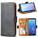Samsung Galaxy S8 Case, Bozon Wallet Case for Galaxy S8 Flip Folio Leather Cover with Stand/Card Slots and Magnetic Closure (Dark Grey)