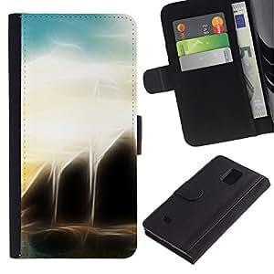 Paccase / Billetera de Cuero Caso del tirón Titular de la tarjeta Carcasa Funda para - Sunset Sea Black Sci-Fi - Samsung Galaxy Note 4 SM-N910