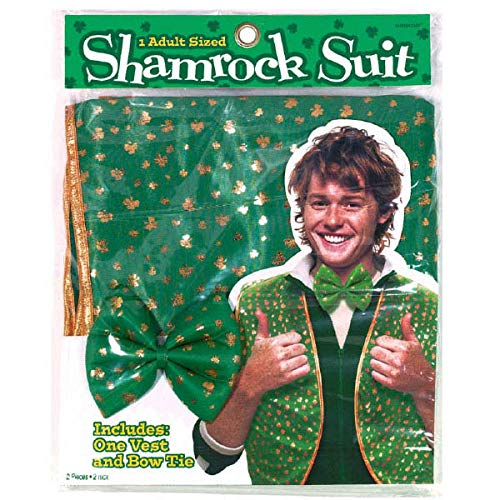 Amscan St. Patrick's Day Green Fabric Shamrock Suit | Party Costume I 4 Ct.