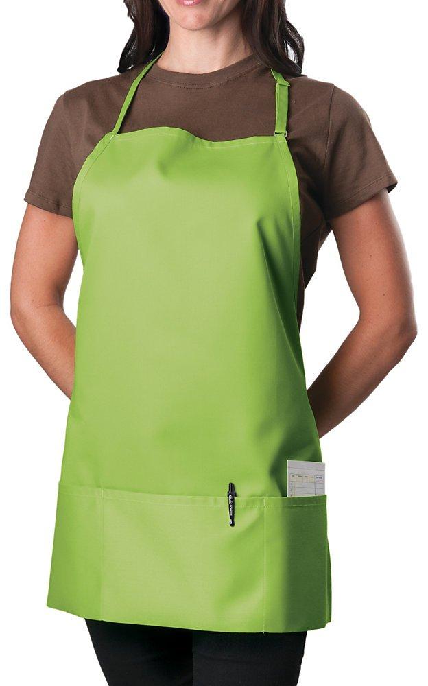 3 Pocket Adjustable Bib Apron, 27 inch, Lime Green, pack of 60