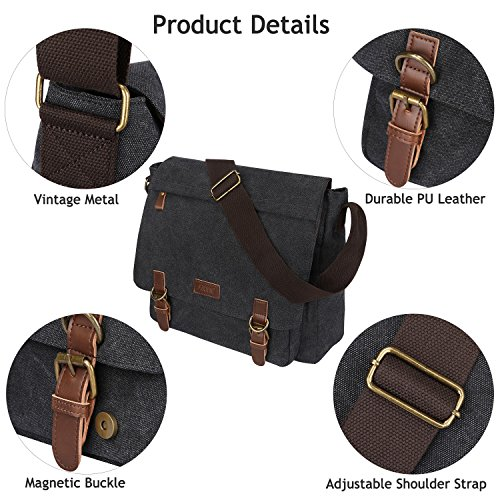 deep Shoulder Grey Briefcase Inches Vintage Day Canvas S Laptop Large Men's Messenger Crossbody C Bag 15 zone axqwT0