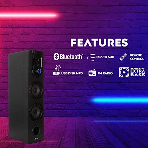 Zoook Gladiator 55W Bluetooth Tower Speaker with USB, AUX in, FM, Bluetooth with Remote Control - Home Theatre Party Speaker