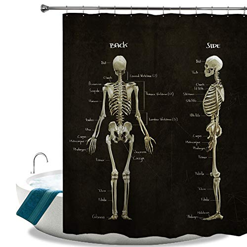 HIYOO Bathroom Polyester Fabric Waterproof Shower Curtain, Halloween Decor Decorations Theme Design, High-Definition Image, Hooks Included 60