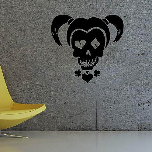 Artstickerscool Wall Decor Harley Quinn Skull Face Print DC Comics Character Wall Decal Harlequin Girl Vinyl Mural Suicide Squad Roommates Art Decoration Gift