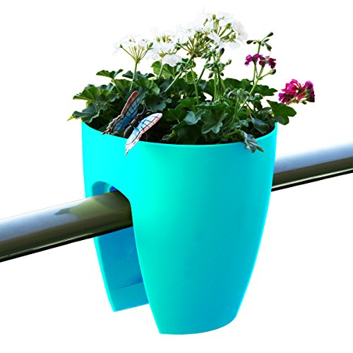 Greenbo Deck Rail Planter Box with Drainage trays, round 12-Inch, Color Turquoise by Greenbo