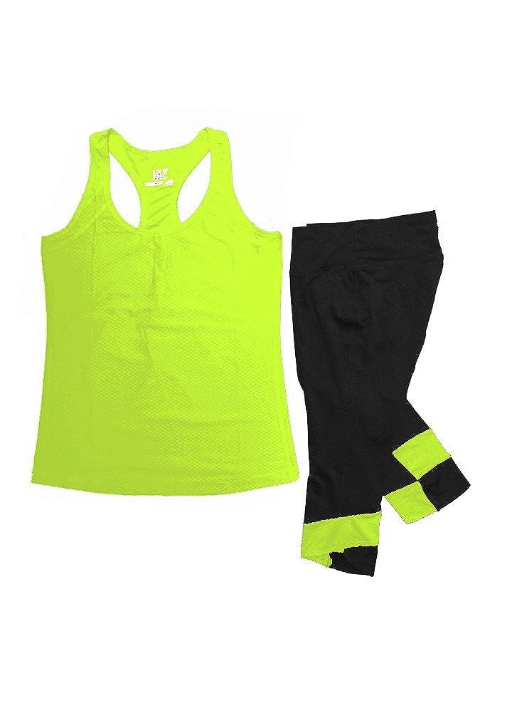 Womens Athletic Racer Back Tank Top /& Skinny Yoga Capri Leggings Set