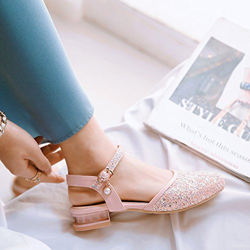 verano La el de con Baotou y size hembra la Pinkred sandalias baja primavera wRAwOZ