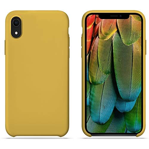 HONUA Silicone Case for iPhone XR, Soft and Protective iPhone Case with Microfiber Lining, Compatible with Apple iPhone XR 6.1 inch - Mustard