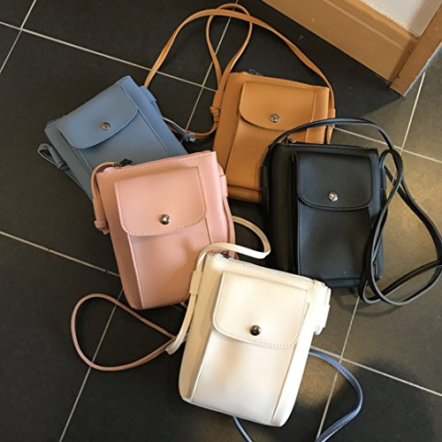 Mini Bag Zipper Bag Square Bias Mobile Zhangjia Small Female Mini Phone Through Bag Brown Casual Light White Bag Student Pu aIgqw1