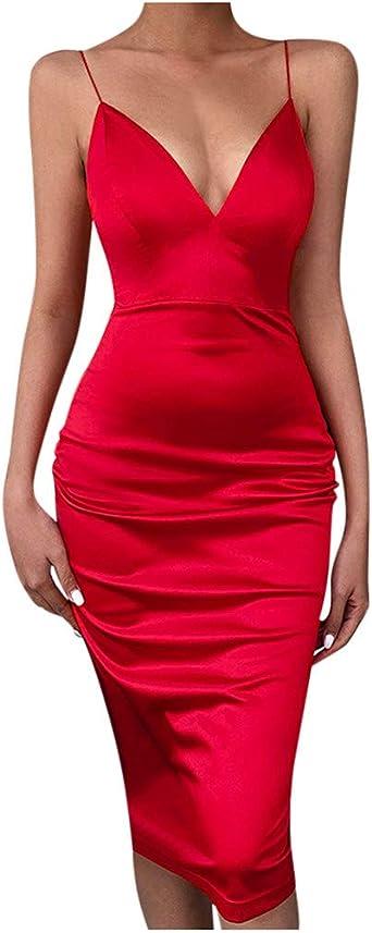 MAWOLY damska sukienka na czas wolny, z dekoltem w kształcie litery V, na lato, jednokolorowa, bez rękawÓw, długość do kolan: Odzież