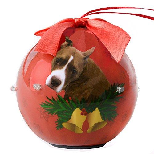 (Cue Cue Pet Festive Ready to Hang Twinkling Lights Christmas Keepsake Pit Bull Ornament Shatterproof Ball)