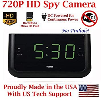 AES Spy Cameras ACRHD 720p Alarm Clock Radio HD Covert Hidden Nanny Camera Spy Gadget Black