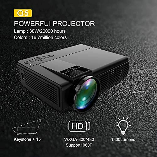 WHLDCD Proyector Potente Mini proyector Q5 Full HD 1080P Proyector ...