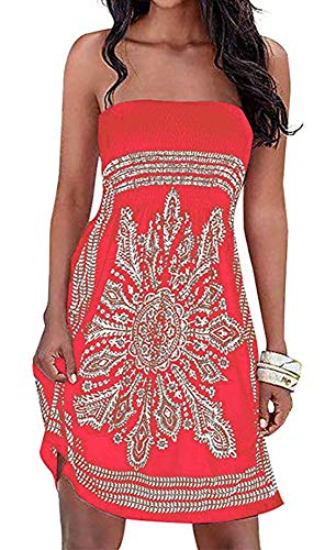 (Women's Beach Dress Summer Cover-up Floral Print Bohemian Strapless Dresses(Orange Red,XL))