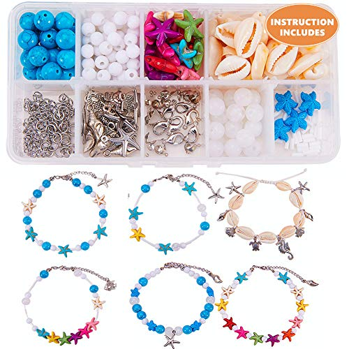 SUNNYCLUE 1 Box DIY 6Set Boho Shell Beads Beach Charm Ankle Bracelet Making Kit Foot Chain Sandal Beads Anklets Adjustable Foot Jewelry Making Supplies Set, Instruction