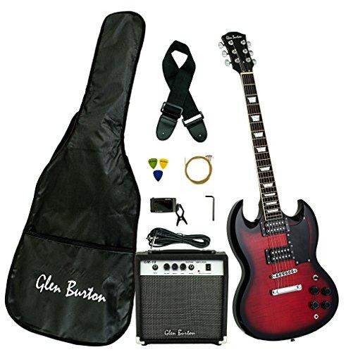 Burton Amp Pack (Glen Burton GE56BCO-RDS  Electric Guitar Double Cut Style, Redburst)