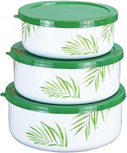 Bamboo Plastic Bowl - Corelle Coordinates by Reston Lloyd 6-Piece Enamel on Steel Bowl/Storage Set, Bamboo Leaf