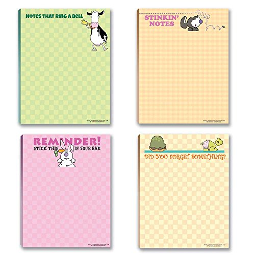 Cute Humorous Notepads - 4 Assorted Funny Note Pads
