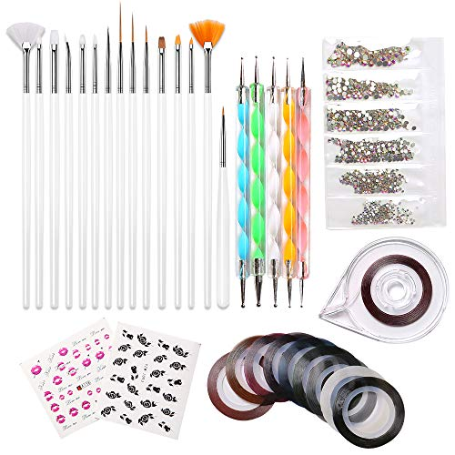 Modelones Nail Art Kit, 10 Striping tape & 15 Pcs Nail Brush Painting Pen & 5 Pcs Dotting Pen & 1 Pc Striping Roller Box & 1368 Pcs Rhinestones & 2 Pcs Water-based Sticker Manicure Kit