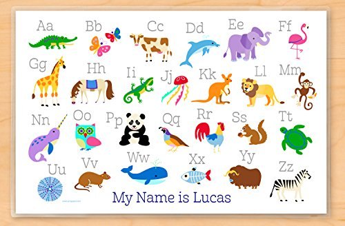 """Animal Alphabet Personalized Placemat, Double Sided, Laminated, 18"""" x 12"""""""