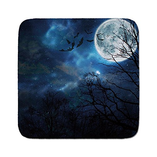 Cozy Seat Protector Pads Cushion Area Rug,Halloween,Bats Flying in Majestic Night Sky Moon Nebula Mystery Leafless Trees Forest Decorative,Blue Black White,Easy to Use on Any Surface -
