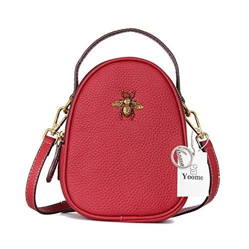 Mujer De Yoos024 Cruzados Bolso Yoome Marrón Para Mid brown Cuero Rosso x0qHwqIap