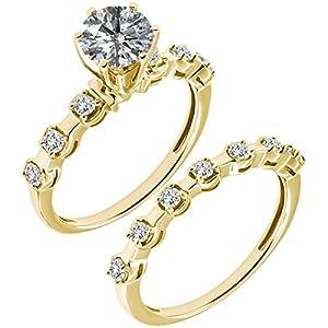 1.14 Carat G-H I2-I3 Diamond Engagement Wedding Anniversary Halo Bridal Ring Set 14K Yellow Gold