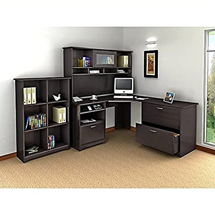 Bush Furniture Cabot 4 Piece Corner Computer Desk Office Set In Espresso Oak