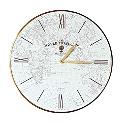 Thomas Kent 20 World Map World Traveller Wall Clock Glass Face with Aluminum Alloy Frame
