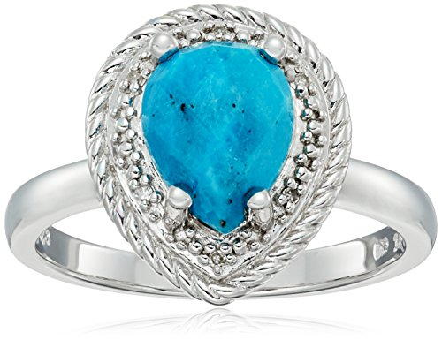Sterling Silver Rope Teardrop Turquoise and Diamond Accent Ring, Size 7