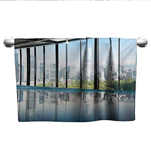 LilyDecorH Modern,Kids Swimming Towels Metropolitan Cityscape of New York USA in Central Park Forest Photograph Hotel Pool Towels Sky Blue and Green W 28